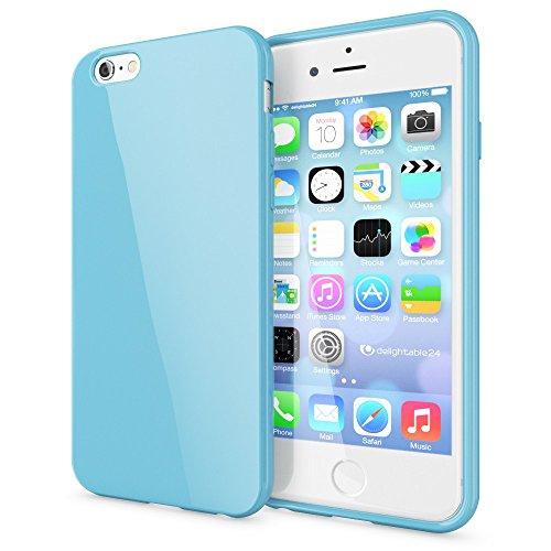 iPhone 6 6S Hülle Handyhülle von NICA, Ultra-Slim TPU Silikon Jelly Case, Dünnes Cover Gummi Schutzhülle Skin, Etui Handy-Tasche Backcover Bumper für Apple iPhone 6S 6 Smartphone - Hell Blau