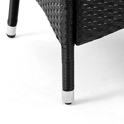 Poly Rattan Sitzgruppe 6+1 mit stapelbaren Stühlen Sitzgarnitur Gartengarnitur Gartenset - 3