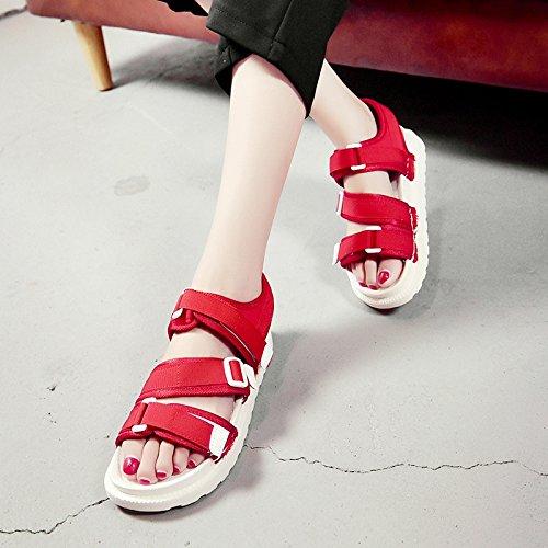 RUGAI-UE Estate sandali donne le suole spesse scarpe da spiaggia scarpe antislittamento Gules