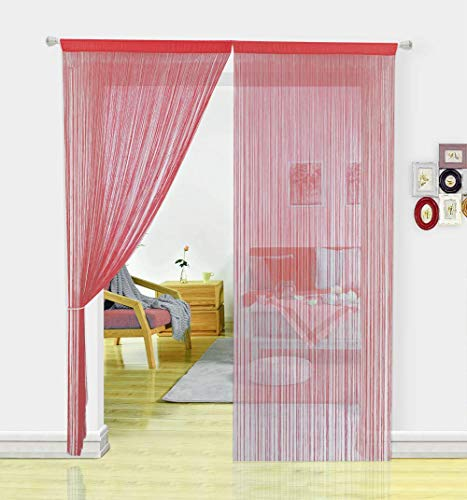 HSYLYM Spaghetti Fliegengitter-Vorhänge für Türen, Türen, Fenster, Behandlungen und Wohnaccessoires (90 x 245 cm), Polyester, rot, 90x245cm - 90 Behandlungen
