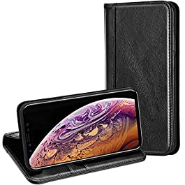 ProCase iPhone Xs Max Genuine Leather Case, Vintage Wallet Folding Flip Case with Kickstand Card Holder Protective Cover for Apple iPhone Xs Max