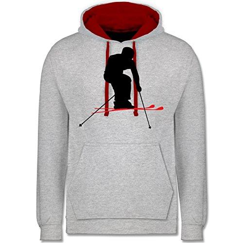 Wintersport - Skifahren Urlaub - Kontrast Hoodie Grau Meliert/Rot