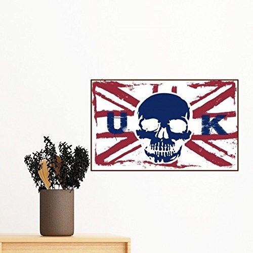 DIYthinker Menschliches Skelett Uk Die Union Jack-Flagge Zeichen entfernbarer Wand-Aufkleber Wand-DIY Tapete Vinyl Room Home Decor Aufkleber 100Cm (Jack Das Skelett)