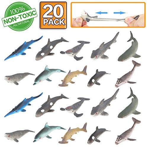 Spielzeugfigur von Hai,20 Paket Badespielzeug-Set aus Gummi,lebensmittelgeeignetes Material TPR,super dehnbar,Tierwelt, weiche schwimmende,Party der Spielzeugfiguren, lebensechter von Hai,Delphin,Wal