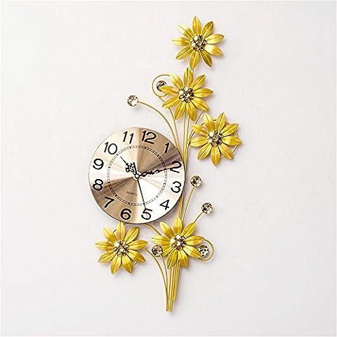 WZ Wall Clock 60cm fleurs d'or fer Métal Horloge murale Silence minimaliste européenne moderne créative Décoration Murale Chambre Salon Cuisine