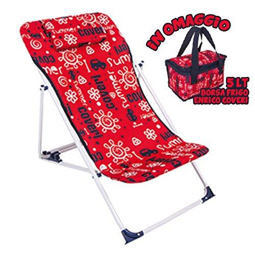 Bakaji sedia a sdraio per bambini dondolino bimbo pieghevole per mare e spiaggia in acciaio e oxford con borsa frigo 5 litri in omaggio (rosso)