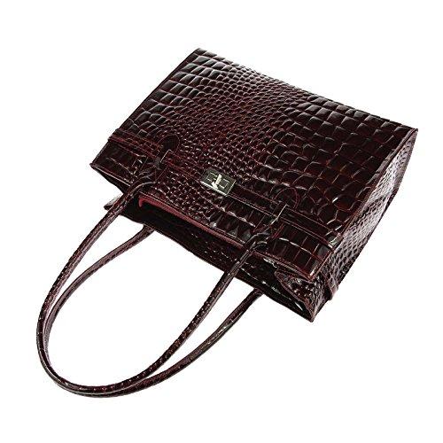 OBC Only-Beautiful-Couture, Borsa a mano donna nero Schwarz (Kroko) ca.: 35x26x12 cm (BxHxT) Bordo (Lackleder)