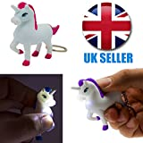 Number 1 Selling Unicorn Keyring Torch With Sound - Novelty Keychain Pink Blue Purple or Yellow - Gift For Women Teen Lady Girl Girls Her Girlfriend - Great Present Idea for Birthdays Christmas Xmas Stocking Fillers Office Gift Hen Do Party Secret Santa - One Supplied