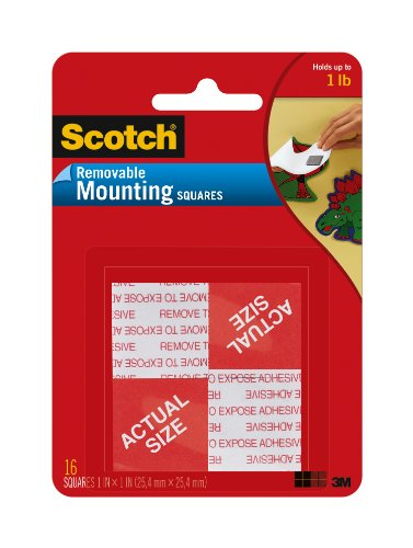 Scotch Brand 108 REMOVABLE MOUNTNG 1X1IN. 16PC
