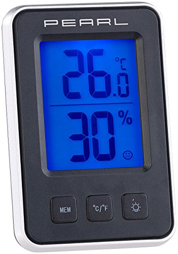 PEARL Thermo Hygrometer: Digitales Thermometer/Hygrometer mit großem, beleuchtetem LCD-Display (Innenthermometer)