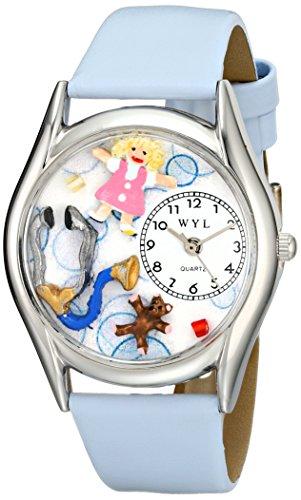 Skurril Uhren Kinderarzt Royal Blau Leder und Silvertone Unisex Quarzuhr mit weißem Zifferblatt Analog-Anzeige und-Lederband s-0610017