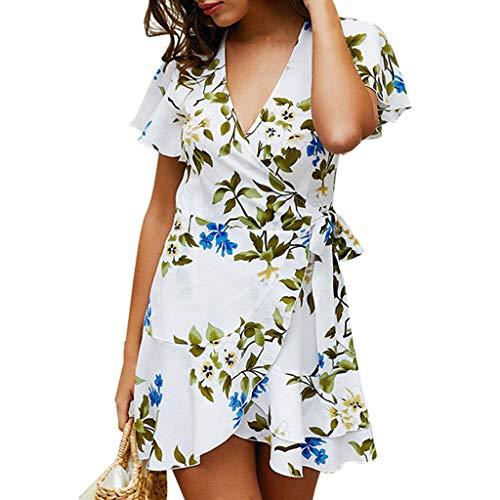 Amuse-MIUMIU Skater Mini Dresses,Women Sexy Floral Short Sleeve Printed Beach V Neck Mini Dress Flower Skater Shift A-Line Western Party Fancy Dress for Women/Girl/Lady Floral Short Sleeve Romper