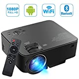 [Build-in Android OS] SEGURO Smart Android Projector 1080P Wifi Home Cinema Theater 1080P Full HD 1500 Lumens Mini Projector Movie Entertainment Support TV, DVD Player, Laptops, PC, Tablets, USB Drive, Headphone via USB / SD / AV / HDMI or Wireless Bluetooth Streaming Media Player Support Miracast & Airplay