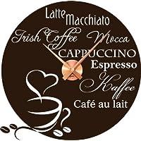 Tattoo Wanduhr inkl. Uhrwerk Wanddeko für Küche Spruch Latte Machhiato Kaffee (Uhr Kupfer//080 braun)