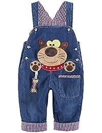 Peto Vaqueros Pantalones Azul Largo Lindo Con Patrón De Raccoon Suspenders Para Bebé Niños Niñas Pantalones Overall