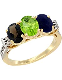 14 ct Gelb Gold Natural Smoky Topaz, Peridot & Lapis Ring Ehering Oval 7 x 5 mm Diamant Accent, Größe Q