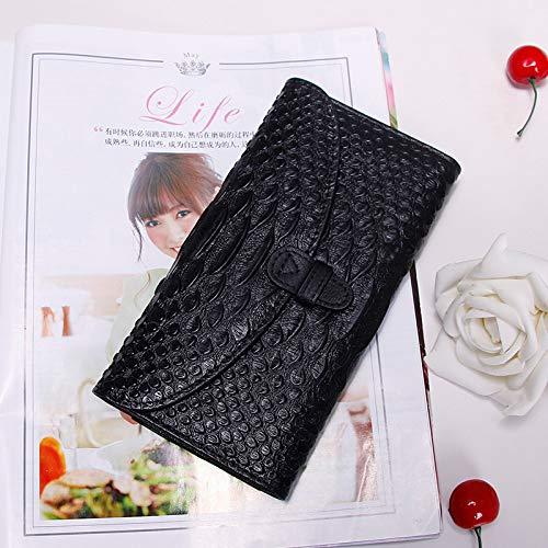 Schwarze Leder Schnitt Couch (Lange Geldbörse aus Leder für Damen, die Multi-Card-Portemonnaie mit dünnem Schnitt und großer Geldbörse pumpt, die Geldbörse von blackWomen)