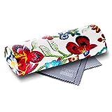 FEFI Hardcase Brillenetui im schicken Blumen-Design - mit Magnetverschluß - inklusive hochwertigem Brillenputztuch/Microfasertuch (Rot)