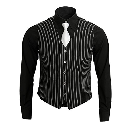 Nofonda 1920er Gangsterhemd für erwachsene Männer, Weste und Krawatte, 20er Kostüm-Outfit, Anzug, Vintage - Nadelstreifen Kostüm
