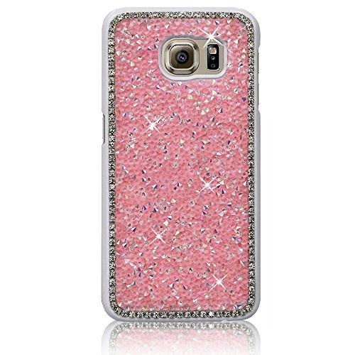 Xtra-Funky Serie Samsung Galaxy S6 Rhinestone di cristallo Rocks cassa dura con Sparkling Diamante Bordatura e Cromato Applicazioni Rim - Rosa