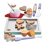 bee SMART - Set Giocattolo per bambin di Accessori da Cucina e Biscotti in Legno