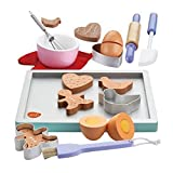 Kinder Hölzerne Keks / Plätzchen Backset aus Holz und Zubehör, 20 Stücke, Kekse / Ausstechformen, Backpinsel, Backblech, Teigroller uvm für Kinder