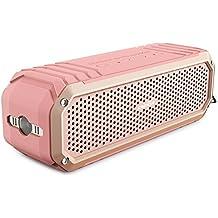 Altavoz Inalámbrico Bluetooth 4.0 COMISO [Max_Audio] Altavoz Impermeable a Prueba de Golpes para Interior y Exterior con Dual Estéreo 5W(Hasta 12 Horas de Uso) Micrófono y Linterna Integrados - (Oro rosa)