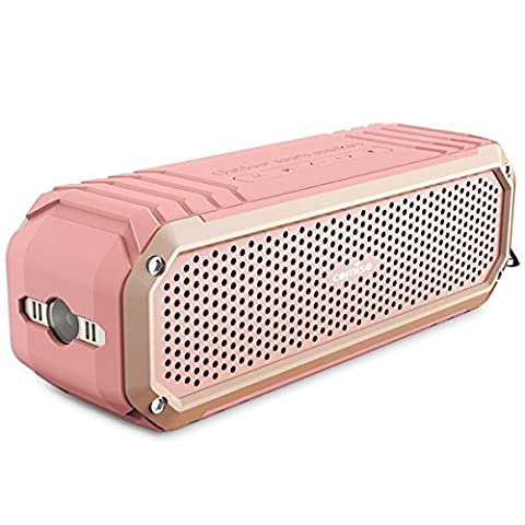 Bluetooth Speaker, COMISO [Max Audio][Rose Gold] - [Ultra Portable] Bluetooth Outdoor Speaker Built in Microphone Flashlight, Wireless Shower Speaker with 10W Super Bass 12 Hour Playtime