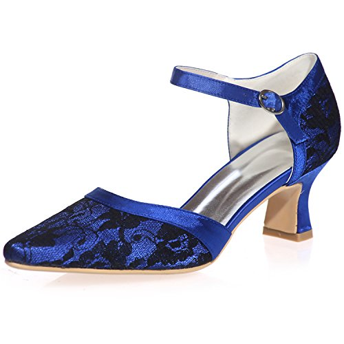 Clearbridal Womenu0027s Lace Low Heel Pointed Toe Wedge Heel Wedding Bridal  Court Shoes For Evening Party Prom ZXF0723 06 Royal Blue UK4