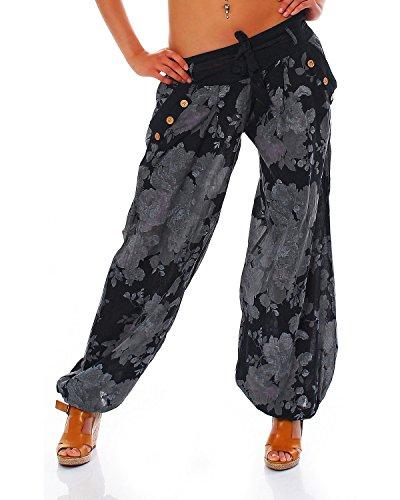 Moda Italy Damen Haremshose Pumphose Ballonhose Pluderhose Yogahose Aladinhose Harem Sommerhose mit Stoffgürtel Flower-Print, One Size Gr.36-42, Schwarz