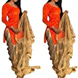 Fabini Women's Velvet & Net Salwar Suit With Dupatta (Orange And Beige,Free Size, Unstitched)