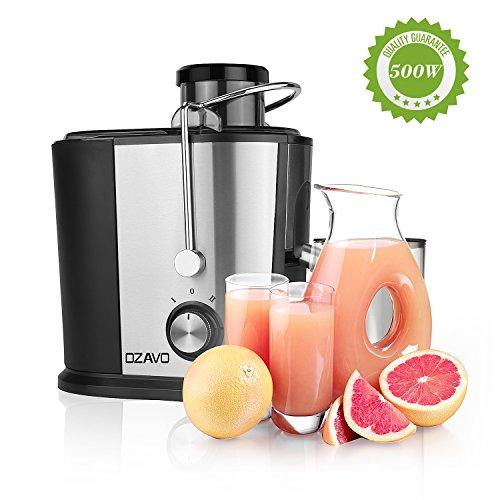 OZAVO Entsafter | Edelstahl Trennscheiben | Saftpresse 500W | elektrische Juicer 2 Geschwindigkeiten | 350 ml Saftbehälter | 1,2 L Fruchtfleischbehälter | Mikrofilter-Sieb