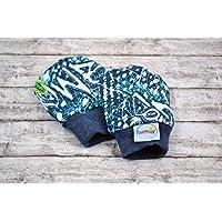 Kratzfäustlinge, Handschuhe aus Bio-Baumwolle 44 48 50 56, für Frühchen Babys, weiß blau türkis hellblau, Bündchen, Mädchen Junge, aus Sweat