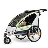 Qeridoo Sportrex 2 Deluxe Kinder-Fahrradanhänger (2 Sitzer) - weiß/grün