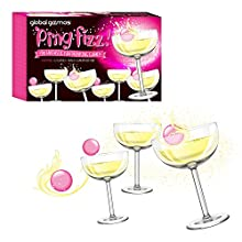 Global Gizmos 52730 Prosecco Pong Set | Party/Spaß/Spiel | 24 Gläser & 3 Bälle | Trinkspiel für Erwachsene, weiß