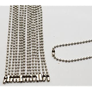 Amanaote Silvery 2.4 mm Diameter Ball Chain 250 mm Length Metal Bead Chain for Pendant Pack of 20 by Amanaote