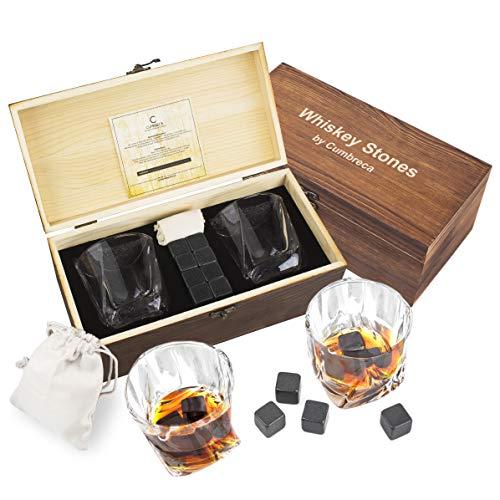 Cumbreca Whisky Steine, Geschenkset mit Whiskey Gläsern: 8 hochpolierte Schwarze FDA geprüfte Kühlsteine aus Granit für puren Getränkegenuss, 2 Gläser aus Kristall, Schutztasche, Holzbox, Eiswürfel