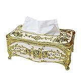 europäischer Stil Luxuriös Rose Tissue Box Kosmetiktücherboxen Halterabdeckung Galvanisieren verarbeiten Gewebehalter (gold&white)