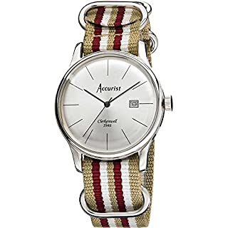 Accurist Men's Quartz Watch with Silver Dial Analogue Display and Multi-Colour Nylon Strap Ms434S