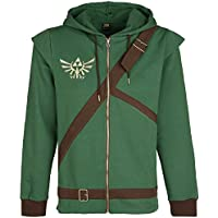 The Legend of Zelda Cosplay Zip-Hoodie Sudadera capucha con cremallera verde/marrón XL
