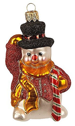 Pinnacle Peak Trading Company Mini Snowman Wearing Red Vest and Top Hat Polish Glass Christmas Tree Ornament -