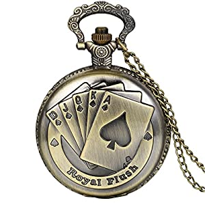 JewelryWe Vintage Taschenuhr Herren Analog Quarz Uhr mit Halskette Kette Kettenuhr Pocket Watch Royal Flush Poker Spielkarten