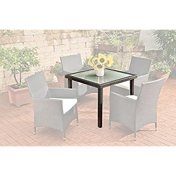 CLP Poly-Rattan Garten-Tisch Rio, 90 x 90 cm, Esstisch Höhe 75 cm ...
