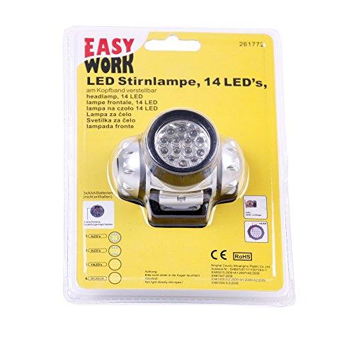 Stirnlampe / Kopflampe mit 14 LED - Sehr heller und weiter Lichtkegel - Einstellbares elastisches Kopfband