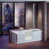 Badewanne 1700x750 mm / 170x75 cm HOSTYLE mit Tür inkl. Duschaufsatz, Schürze und Ablauf, Rechte Ausführung