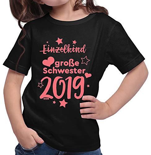 HARIZ  Mädchen T-Shirt Einzelkind Große Schwester 2019 Sterne Große Schwester Geschwisterliebe Bruder Geburt Plus Geschenkkarte Schwarz 128/7-8 Jahre -