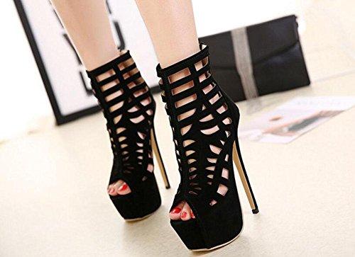 GLTER Frauen-Knöchel-Bügel-Pumpen-hohle hochhackige kühle Stiefel Wasserdichte Plattform-reizend Peep-Zehe-Schuhe Kegel-Fersen-Gerichts-Schuh-Damen-Pumpen Schwarzes Black