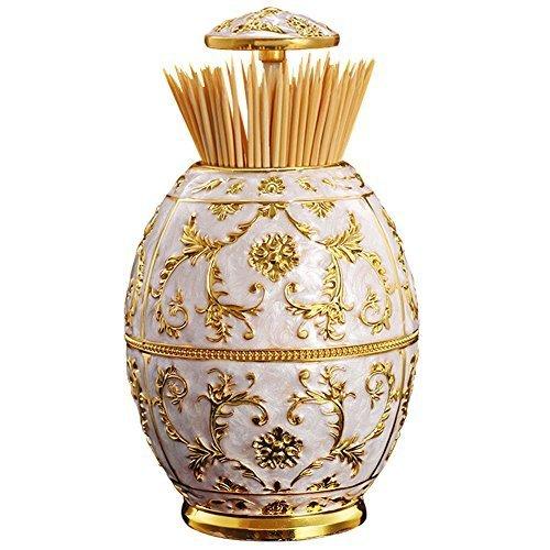 Romote Figura Real del Vaso de Oro Flor de impresión automática Ronda Toothpick Box palillo Titular dispensador