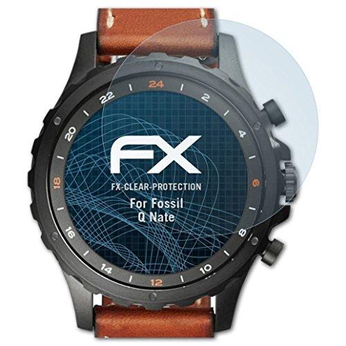 atFoliX Schutzfolie kompatibel mit Fossil Q Nate Folie, ultraklare FX Bildschirmschutzfolie (3X)