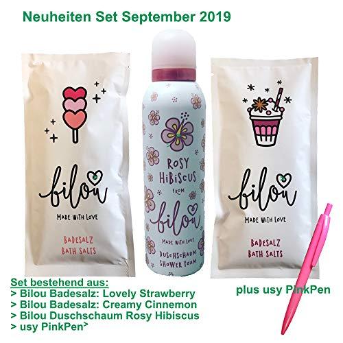 Bilou Neuheiten Testpaket Creamy Cinnamon & Lovely Strawberry Badesalze und Rosy Hibiscus Duschschaum (2x80g & 200ml Flasche) + usy Pink Pen